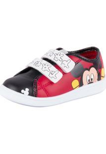 Tênis Disney Mickey Em Velcro - Masculino-Vermelho