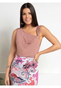 Blusa Rosê Com Argola E Sobreposição No Decote