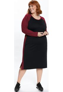 Vestido Plus Size Midi Manga Raglan Bicolor