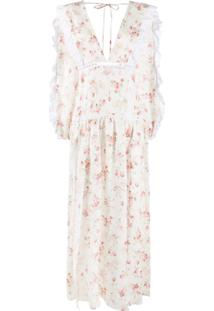 Wandering Vestido Gola V Com Estampa Floral - Branco