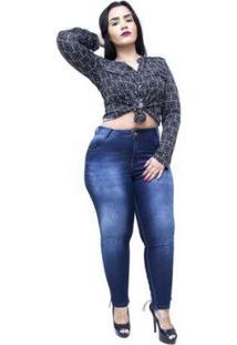 Calça Jeans Plus Size Credencial Cigarrete Feminina - Feminino-Azul
