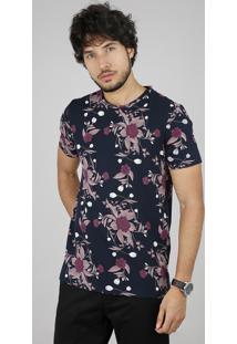 Camiseta Masculina Slim Fit Estampada Floral Manga Curta Gola Careca Azul Marinho
