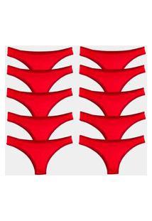 Kit 10 Calcinhas Tanga Try Basics Algodão Cotton Básica Lisa Moda Lingerie Vermelho