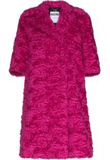 Moschino Casaco Midi De Lã Mohair E Pele Sintética - Rosa
