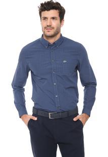 Camisa Lacoste Reta Xadrez Azul