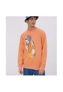 Camiseta Manga Longa Estampa Dama E Vagabundo | Disney | Laranja | Pp