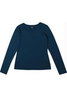 Blusa Azul Lisa Manga Longa