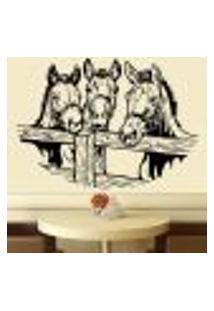 Adesivo De Parede Animais 3 Cavalos Atrás Da Cerca - G 48X67Cm