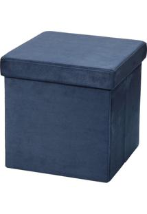 Puff Baú Desmontável Para Sala Quarto Suede Azul 38X38 - Lyam Decor