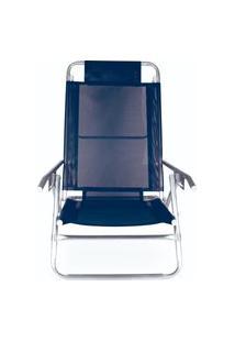 Cadeira Reclinavel 5 Posições Aluminio Azul Azul
