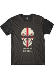 Camiseta Bsc Caveira País Georgia Sublimada Masculina - Masculino-Preto