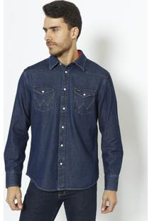 Camisa Jeans Regular Fit Com Recortes- Azul Escuro- Wrangler
