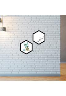 Kit 2 Quadros Com Moldura Hexagonal Welcome