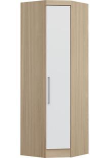 Modulo De Canto Com 1 Porta Obliquo Infinity 3805A-Castro Móveis - Nogueira / Branco