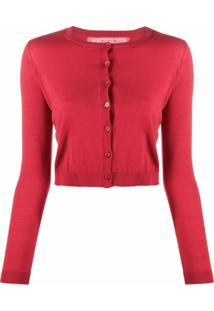 Red Valentino Cardigan Cropped Com Gola Redonda - Vermelho