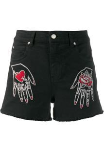 Redvalentino Short Jeans - Preto