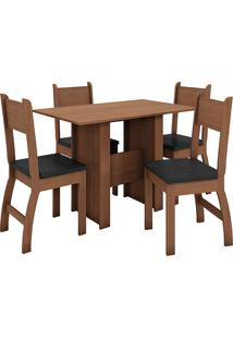 Conjunto De Mesa E 4 Cadeiras Para Sala De Jantar Milano Fosco-Poliman - Carvalho / Preto