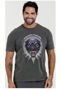 Camiseta Masculina Estampa Pantera Negra Manga Curta Marvel