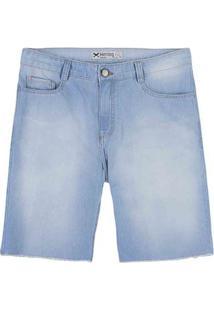 Bermuda Jeans Masculina Em Algodão Com Lavação Clara