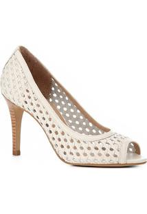 95093638f7 ... Peep Toe Couro Shoestock Salto Fino Tressê - Feminino-Off White