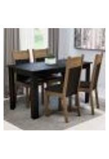 Conjunto Sala De Jantar Madesa Havana Mesa Tampo De Madeira Com 4 Cadeiras - Preto/Rustic
