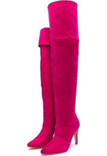 Bota Over Mr Shoes Salto Fino Cano Alto Camurça Pink - Kanui