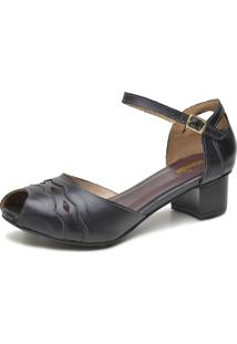 Sandália Retrô Peep Toe Touro Boots Feminina Preto - Kanui