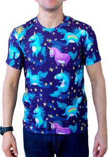Camiseta Ops Blue Unicórnios Estampada