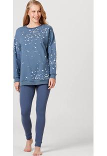 Pijama Feminino Estampado Manga Longa Em Algodão Com Elastano