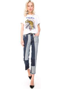 Calça Jeans Slim Patchwork