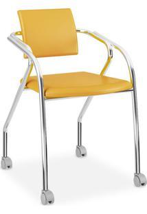 Cadeira Para Escritório Cromada 1713, Napa Amarelo Ouro