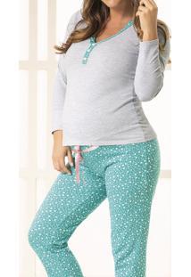 Pijama Gestante Longo Com Peitilho Malwee (1000037372) Algodão
