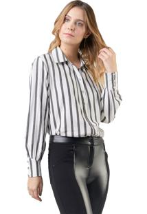 Camisa Mx Fashion Listrada Kate Preta