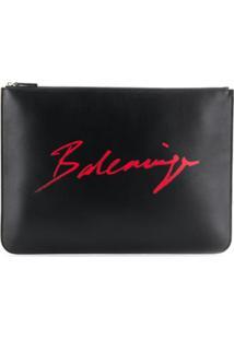 Balenciaga Carteira Everyday Com Logo - Preto