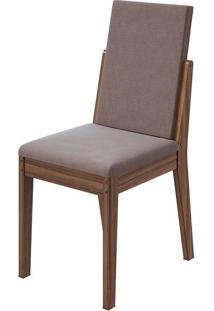 Cadeira Lira Velvet Rosê Imbuia Naturale