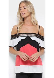 Blusa Efa Geométrica Babado Feminina - Feminino-Branco+Vermelho