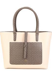 Bolsa Capodarte Tote Shopper Monograma Feminina - Feminino-Bege