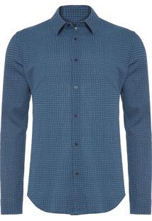 Camisa Masculina Xadrez Fine - Azul