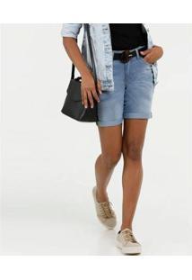 Bermuda Jeans Barra Dobrada Marisa Feminina - Feminino-Azul