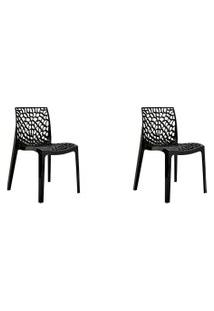 Kit 02 Cadeiras Gruv Preta Rivatti