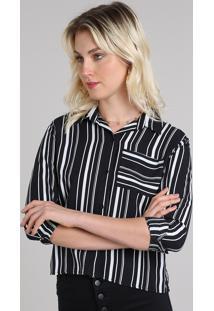 Camisa Feminina Cropped Estampada Listrada Manga Longa Preta