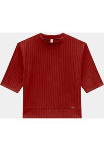 Blusa Malha Canelado Vermelho