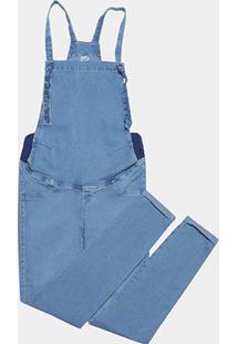 Macacão Jeans Cambos Cropped Gestante Feminino - Feminino-Azul Claro