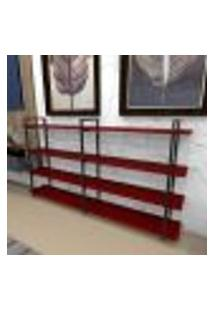 Estante Industrial Aço Cor Preto 180X30X98Cm (C)X(L)X(A) Cor Mdf Vermelho Modelo Ind56Vrest