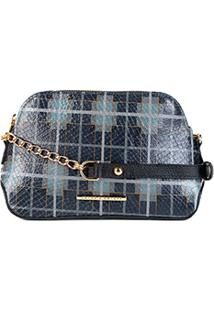 Bolsa Couro Jorge Bischoff Mini Bag Estruturada Feminina - Feminino-Xadrez