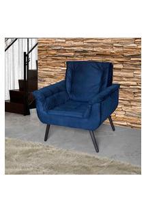 Poltrona Estofada Matrix Mônica 00603.1254 Pés Palito Veludo Azul