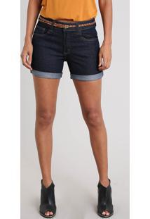 Short Jeans Feminino Midi Com Barra Dobrada E Cinto Trançado Azul Escuro