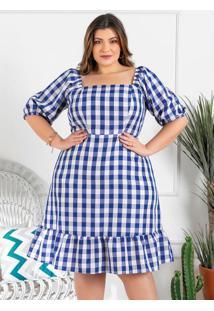 Vestido Plus Size Xadrez Azul Mangas Bufantes