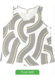 Blusa Sem Manga Estampada Branco
