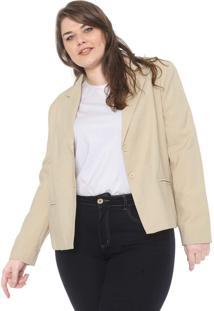 Blazer Secret Glam Plus Size Alfaiataria Bege